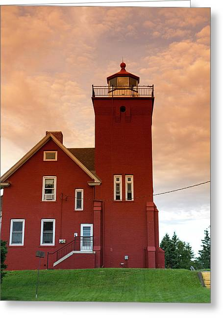 The Two Harbors Lighthouse Overlooking Greeting Card by David R. Frazier