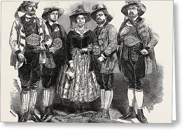 The Tyrolese Minstrels. Mdlle. Margreiter Greeting Card by English School