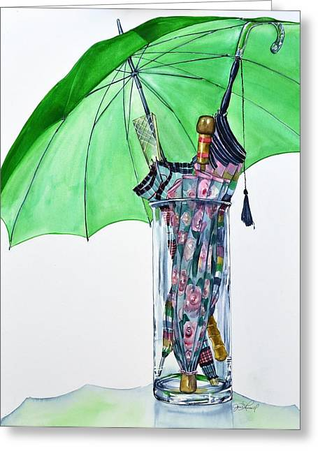 The Umbrella Plan Greeting Card by Jane Loveall