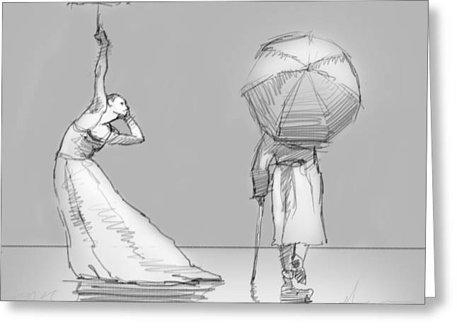 The Umbrellas Greeting Card by H James Hoff