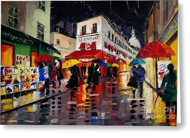The Umbrellas Of Montmartre - Paris Impressionism Palette Knife Cityscape Greeting Card