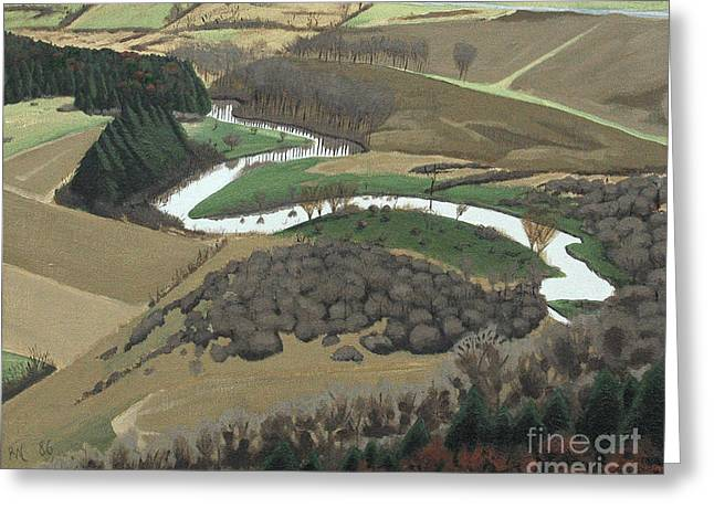 Greeting Card featuring the painting The Unadilla River From Mt Markham #1 by Robert Coppen