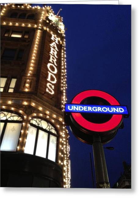 The Underground And Harrods In London Greeting Card by Jennifer Lamanca Kaufman