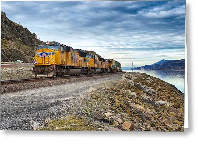 Greeting Card featuring the photograph The Union Pacific Railroad Columbia River Gorge Oregon by Michael Rogers