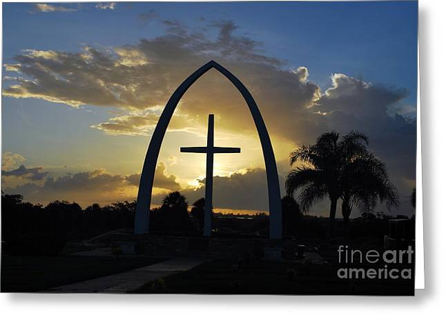 The Universal Cross At Sunrise Greeting Card by Bob Sample