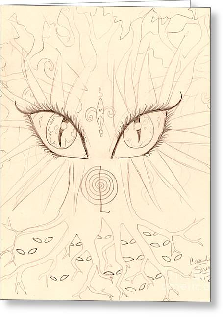 The Universal Tree Sketch Greeting Card by Coriander  Shea