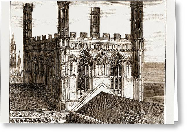 The Unsafe Condition Of Peterborough Cathedral The Central Greeting Card