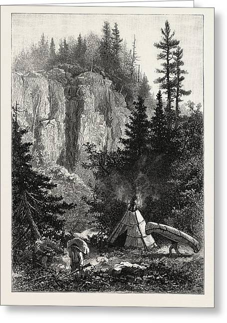 The Upper Lakes, Camping Ground At The Portage Greeting Card by Canadian School