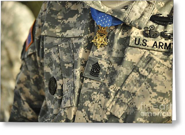 The U.s. Army Medal Of Honor Is Worn Greeting Card by Stocktrek Images