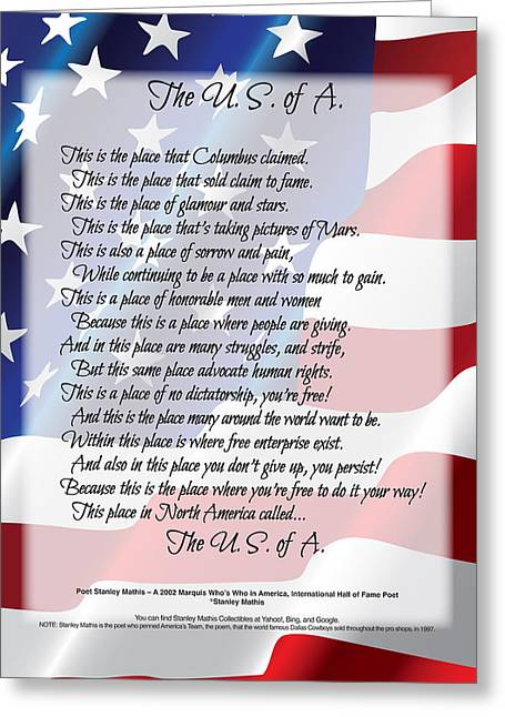 The U.s.a. Flag Poetry Art Poster Greeting Card by Stanley Mathis