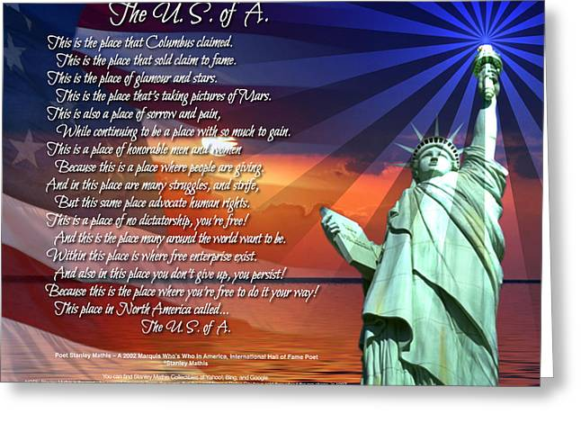 The Usa Statue Of Liberty Poetry Art Poster Greeting Card by Stanley Mathis