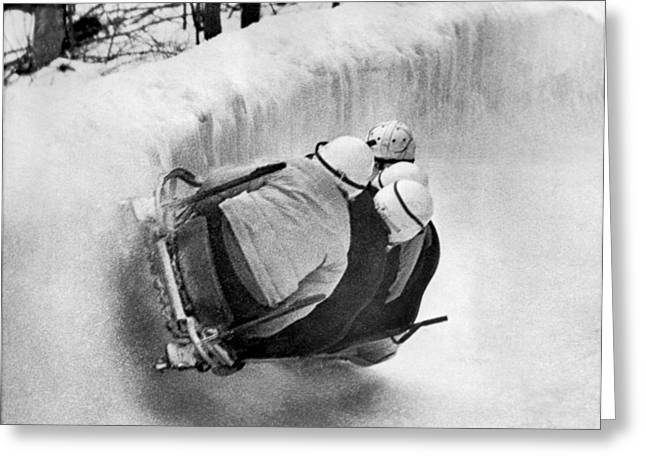The Usa Bobsled Team On A Run Greeting Card by Underwood Archives