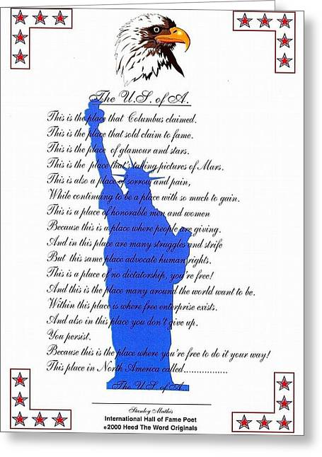 The Usa Statue Of Liberty Poetic Art Poster Greeting Card by Stanley Mathis
