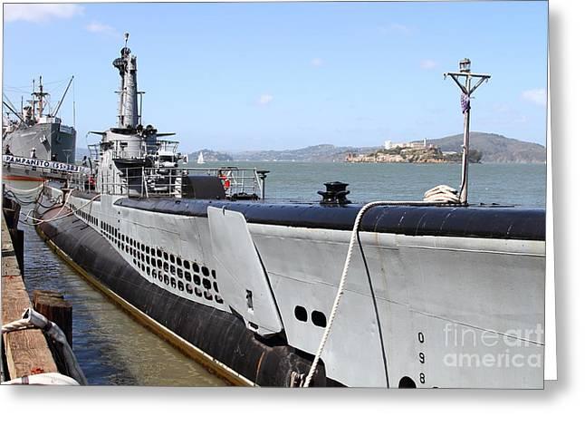 The Uss Pampanito Submarine At Fishermans Wharf . San Francisco California . 7d14417 Greeting Card