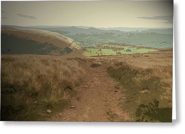 The Vale Of Edale From Grindslow, Pictured Here From A Path Greeting Card by Litz Collection