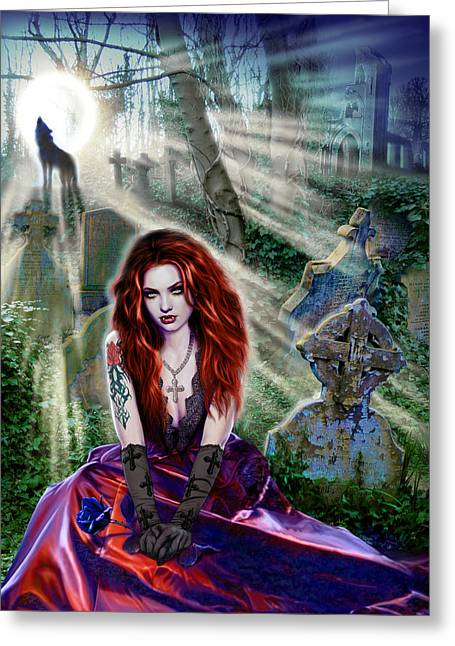 The Vampiress Greeting Card by Andrew Farley