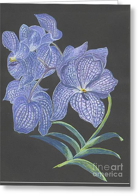 Greeting Card featuring the painting The Vanda Orchid by Carol Wisniewski
