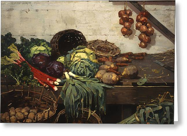 The Vegetable Stall Greeting Card by Mountain Dreams