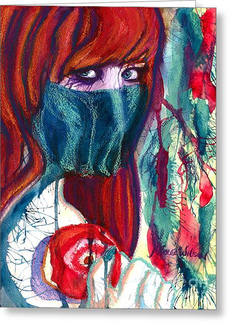 The Veil Greeting Card by D Renee Wilson