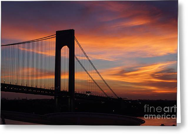 The Verrazano-narrows Bridge St Sunrise Greeting Card