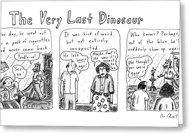 The Very Last Dinosaur: Title Greeting Card by Roz Chast