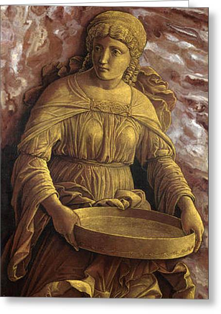 The Vestal Virgin Tuccia With A Sieve Greeting Card by Andrea Mantegna
