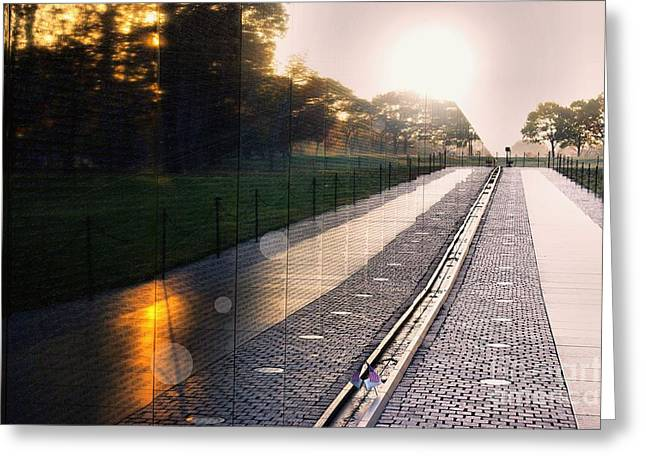 Greeting Card featuring the photograph The Vietnam Wall Memorial  by John S