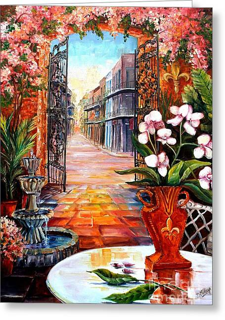 The View From A Courtyard Greeting Card by Diane Millsap