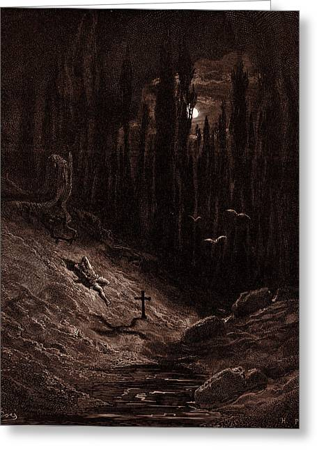 The Vigil By The Grave, By Gustave Dore, 1832 - 1883 Greeting Card