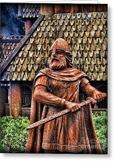The Viking Warrior Statue  Greeting Card by Lee Dos Santos