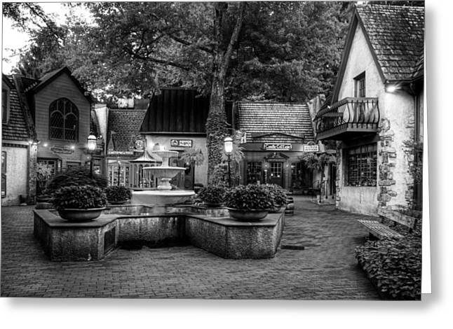 The Village Of Gatlinburg In Black And White Greeting Card by Greg and Chrystal Mimbs