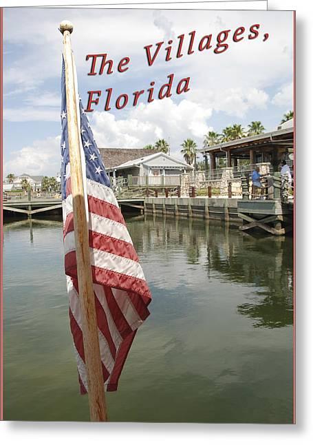 The Villages Fl Flag Greeting Card by Wynn Davis-Shanks