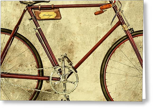 The Vintage Racing Bike Greeting Card by Martin Bergsma