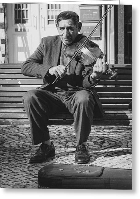 The Violin Player Greeting Card by Marco Oliveira