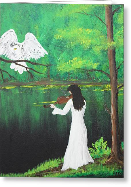 The Violinist By The River   Greeting Card