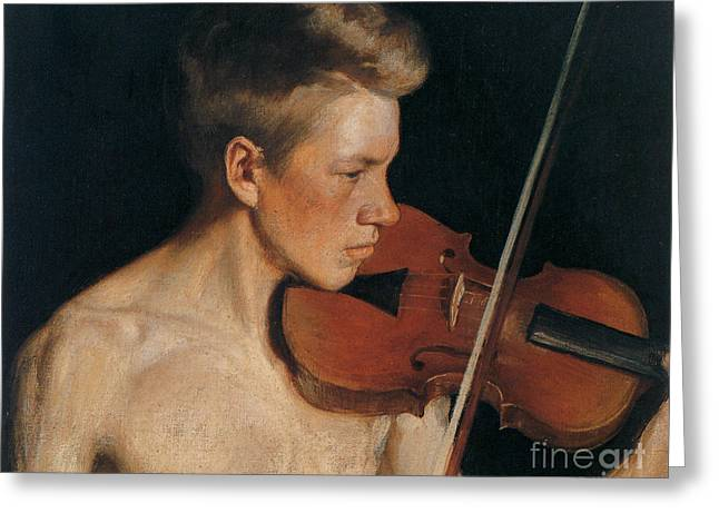 The Violinist Greeting Card by Celestial Images