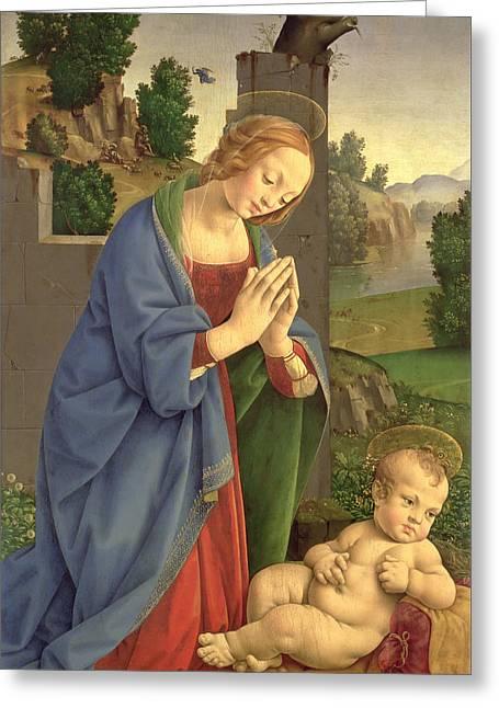 The Virgin Adoring The Child Greeting Card by Lorenzo di Credi