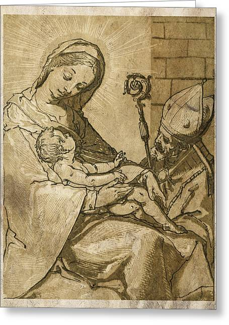 The Virgin And Child Greeting Card by Aged Pixel
