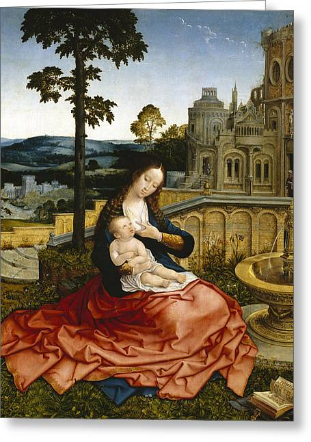 The Virgin And Child By A Fountain Greeting Card