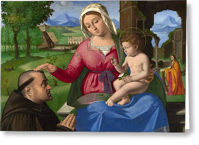 The Virgin And Child With A Supplicant Greeting Card by Andrea Previtali