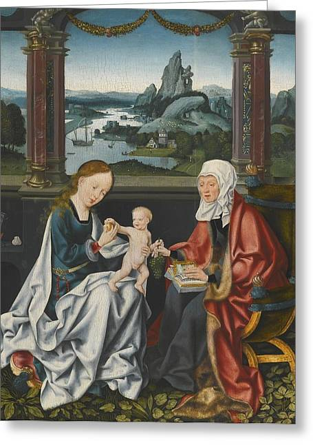 The Virgin And Child With Saint Anne Greeting Card by Celestial Images