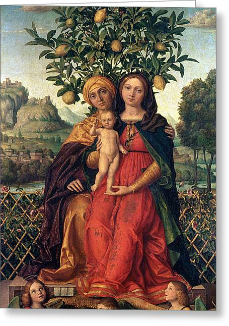 The Virgin And Child With Saint Anne Greeting Card