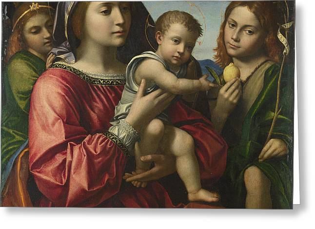 The Virgin And Child With The Baptist And An Angel Greeting Card by Paolo Morando