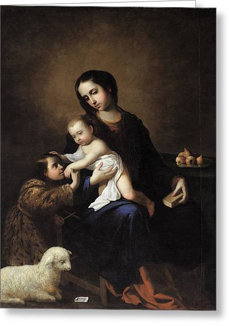 The Virgin And Child With The Infant St John The Baptist Greeting Card