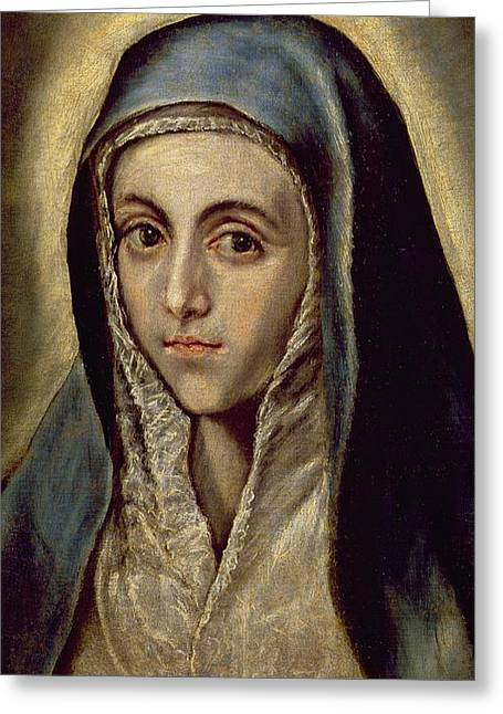 The Virgin Mary Greeting Card by El Greco Domenico Theotocopuli