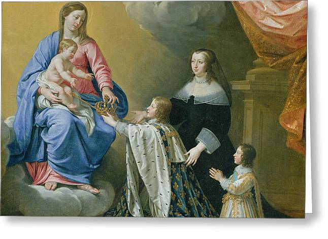 The Virgin Mary Gives The Crown And Sceptre To Louis Xiv, 1643  Greeting Card by Philippe de Champaigne