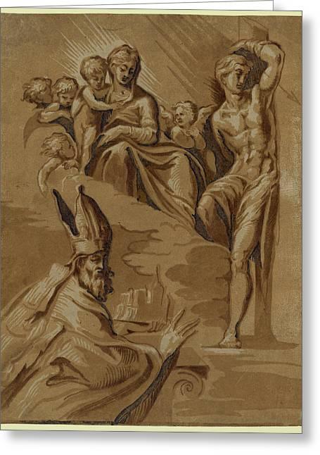 The Virgin, St. Sebastian And A Holy Bishop, Date Created Greeting Card by Carpi, Ugo Da (c.1480-1520/32), Italian