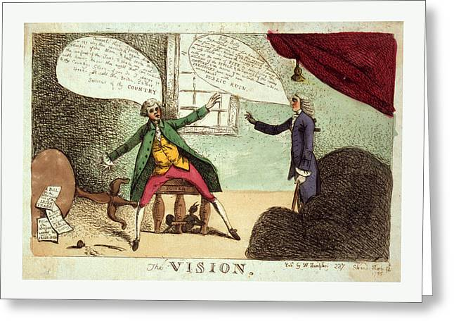 The Vision, Engraving 1785, A Young Man, Possibly William Greeting Card