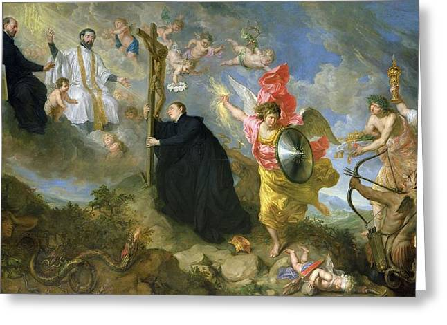 The Vows Of Saint Aloysius Of Gonzaga Oil On Canvas Greeting Card by Theodor Boeyermans