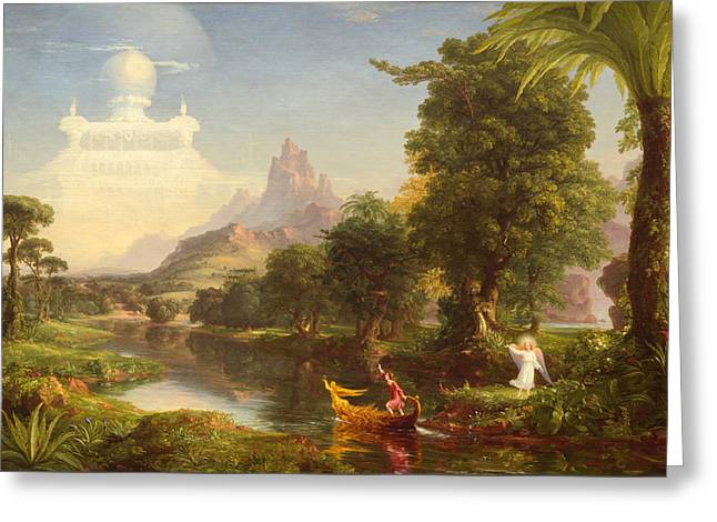 The Voyage Of Life Youth Greeting Card by Thomas Cole